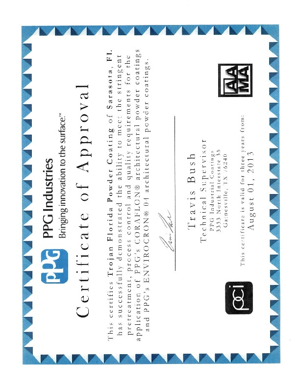 Architectural Certifications Trojan Powder Coating