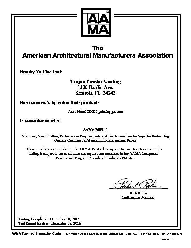 aama certifications architectural york